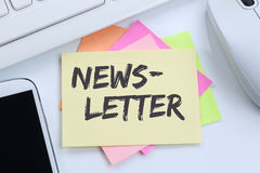 Newsletter subscribing on internet for business marketing campaign desk royalty free stock images