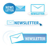 Newsletter symbols. A collection of various newsletter symbols isolated over white background Stock Photography