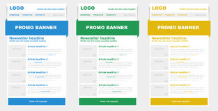 Newsletter templates for emailing. Stock Photo