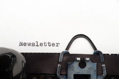 Newsletter text on retro typewriter. Close up view - Newsletter - written on an old typewriter Royalty Free Stock Photo