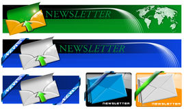 Newsletter Web Banner Collection. Four newsletter concept banner with envelopes, arrows and corners on white background Stock Images