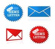 Newsletter website symbols. A set of newsletter website symbols against white background Royalty Free Stock Photos