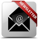 Newsletter white square button red ribbon in corner Royalty Free Stock Images