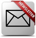 Newsletter white square button red ribbon in corner Royalty Free Stock Photography