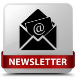 Newsletter white square button red ribbon in middle Stock Photos