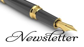 Newsletter. Word Newsletter written with fountain pen Royalty Free Stock Photos
