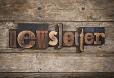 Newsletter written with letterpress type Royalty Free Stock Photo