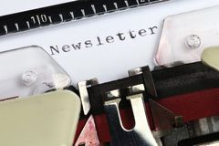Newsletter. Written with old typewriter Royalty Free Stock Images