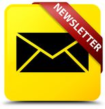 Newsletter yellow square button red ribbon in corner Royalty Free Stock Image