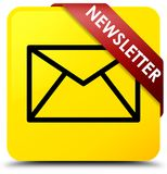 Newsletter yellow square button red ribbon in corner. Newsletter isolated on yellow square button with red ribbon in corner abstract illustration Royalty Free Stock Image