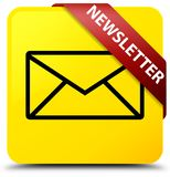 Newsletter yellow square button red ribbon in corner Royalty Free Stock Photos