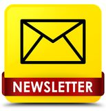 Newsletter yellow square button red ribbon in middle Royalty Free Stock Images