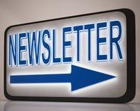 Newsletter-Zeichen, das Nachrichten-Post zeigt Lizenzfreie Stockfotos