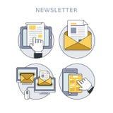 Newsletterkonzeptsatz Stockbild