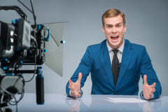 Newsman is extremely stressed out Royalty Free Stock Photos