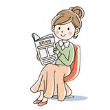 Woman sitting and reading a newspaper stock illustration