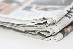 Newspaper. Isolated on a white background Royalty Free Stock Image