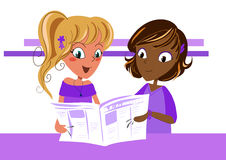 Newspaper. Two young friends readind the newspaper royalty free illustration