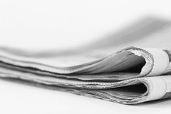 Newspaper. Stack isolated on a white background Stock Photos
