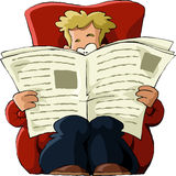 Newspaper. A man in a chair reading a newspaper, vector Royalty Free Stock Image