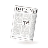 Newspaper daily. Newspaper icon for daily news with world map and shadow Stock Photo
