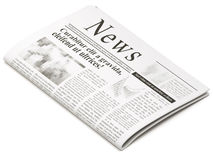 Newspaper. S on white background with shadow Stock Photography