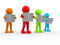Newspaper. 3d people - human character, reading newspaper . This is a 3d render illustration Royalty Free Stock Photos
