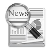 Newspaper. Icon of newspaper with magnifying glass Royalty Free Stock Photography