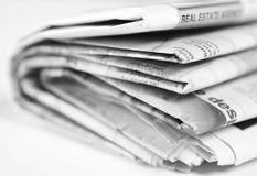 Newspaper. A stack of newspaper on white background