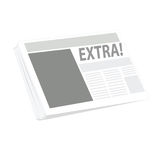 Newspaper. Vector illustration of a newspaper, with the word EXTRA as the main headline on the front page Stock Image