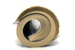 Newspaper. Rolled up white background isolate Royalty Free Stock Image