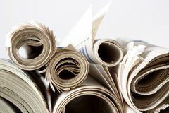 Newspaper. Isolated on grey background Royalty Free Stock Photography