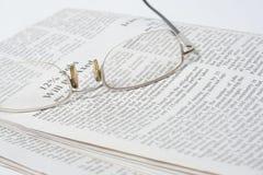 Newspaper. Eye glasses on a Newspaper Stock Photo