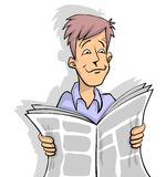 Newspaper. Man is reading newspaper in color white background Royalty Free Stock Image