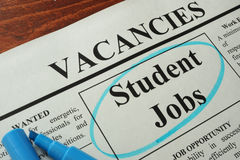 Newspaper with ads student jobs vacancy. royalty free stock images