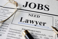 Newspaper with ads for vacancy Lawyer. Employment concept royalty free stock image