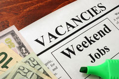 Newspaper with ads weekend jobs vacancy. royalty free stock image