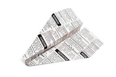 Newspaper Airplane. Classified Ad, business concept Royalty Free Stock Images