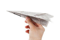 Newspaper Airplane Stock Photography