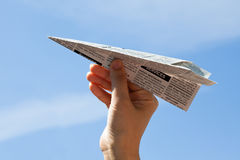 Newspaper Airplane Stock Images