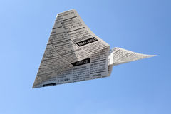 Newspaper Airplane Stock Photography