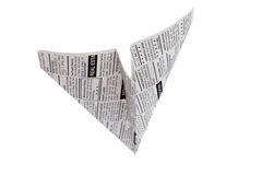 Newspaper Airplane Royalty Free Stock Photography