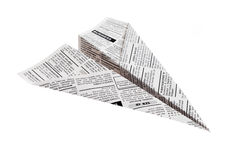 Newspaper Airplane Stock Photo