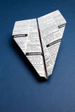 Newspaper Airplane. Fake Newspaper, Airplane, Classified Ad, business concept Stock Photo