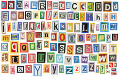 Newspaper alphabet Royalty Free Stock Photography