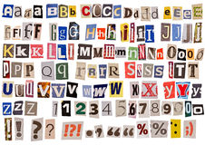 Newspaper alphabet isolated Stock Photos