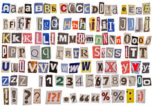 Newspaper alphabet isolated Stock Photography