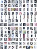 Newspaper alphabet lower Stock Image