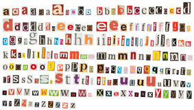 Newspaper alphabet - Lower Case. Many fonts (lower case) against a white background, which were cut from newspapers and magazines Stock Images