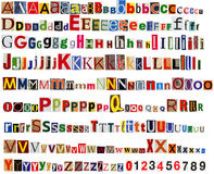 Free Newspaper Alphabet With Letters And Numbers. Royalty Free Stock Images - 81831159